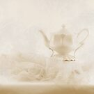 Cream Tea Pot And Ruffled Tablecloth - Still Life  by Sandra Foster