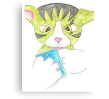 Cat using his phone Canvas Print