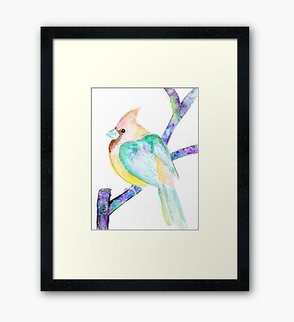 Dream Cardinal - Spirit Animal Watercolor Bird OOAK Framed Print