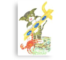 Cat and Crab in Fight over Neptune's Trident Canvas Print