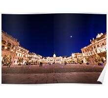 The square of Trieste during Christmas time Poster