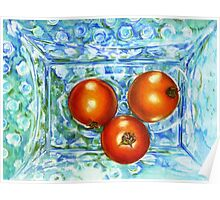 Mom's Blue Hobnob China with Tomatoes, by Alma Lee Poster