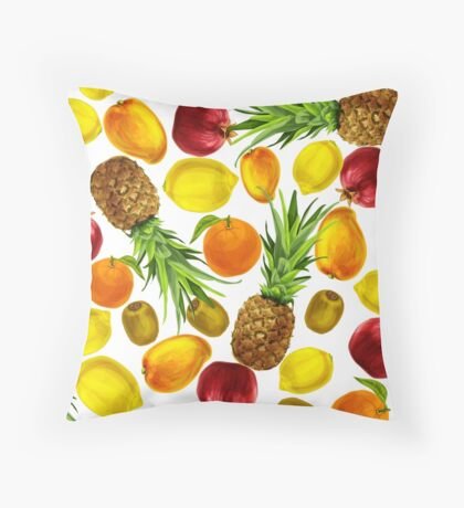 Colorful Tropical Fruits Throw Pillow