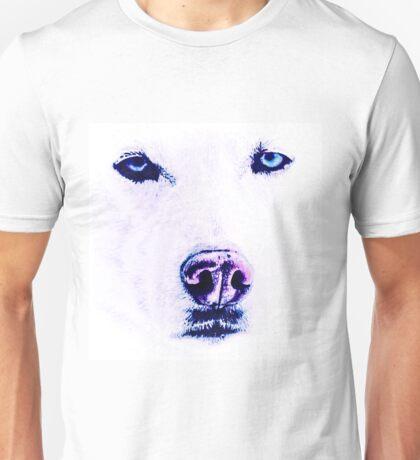 White Husky with Blue Eyes Unisex T-Shirt