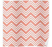 Coral Peach Chevron Stripes Poster