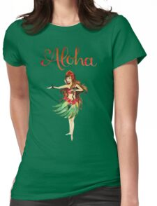 Aloha Hawaiian Hula Girl Womens Fitted T-Shirt
