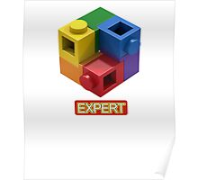 'Expert' Builder T-Shirt Featuring a Brick Built Rainbow Puzzle Poster