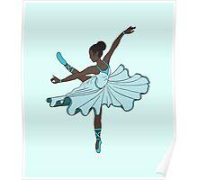 Cute Teal Blue Dance Princess Ballerina Poster