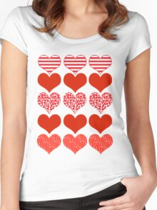 Valentines Day Heart Patterns Love Shirt Women's Fitted Scoop T-Shirt