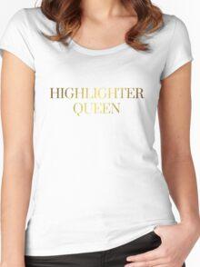 HIGHLIGHTER QUEEN | METALLIC GOLD TEXT GRUNGE AESTHETICS PRINT Women's Fitted Scoop T-Shirt