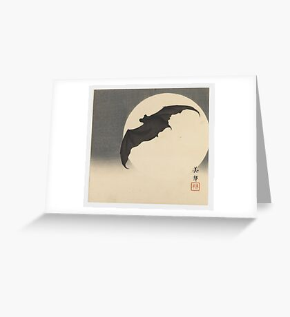 Bat before the Moon by Biho Takashi Greeting Card