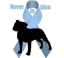 Staffie Bull logo- Bulldoggers Against Prostate Cancer Photographic Print