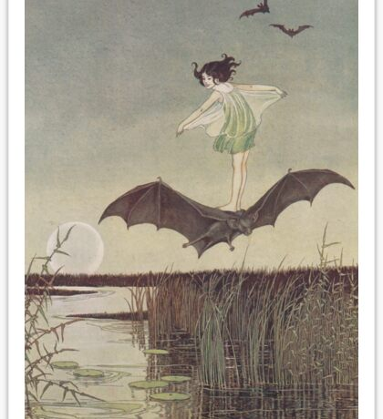 Little Witch Riding Bat by Ida Rentoul Outhwaite Sticker