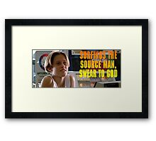 Surfings the source man Framed Print