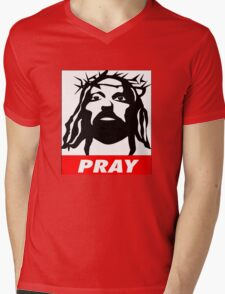 PRAY Mens V-Neck T-Shirt