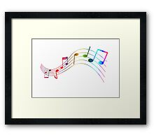 Rainbow Music Note Staff Framed Print
