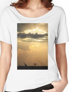 Giraffe Background - Sky Light Wanderer Women's Relaxed Fit T-Shirt