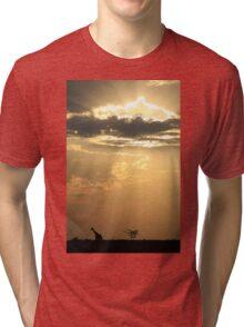 Giraffe Background - Sky Light Wanderer Tri-blend T-Shirt