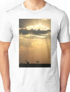Giraffe Background - Sky Light Wanderer Unisex T-Shirt