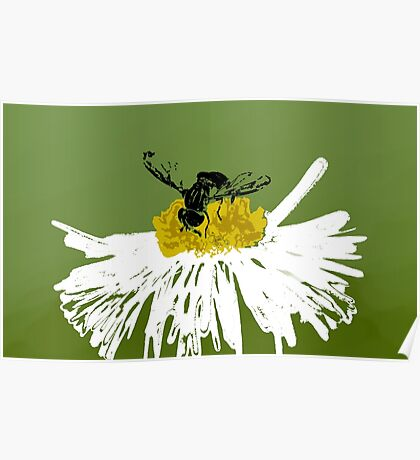 Stenciled Bee Poster