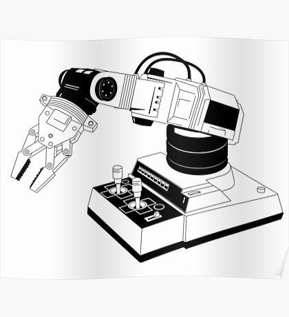 Eighties Robot Arm - Line Art Version Poster