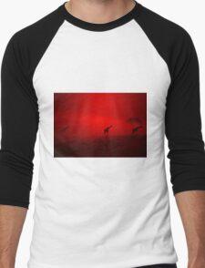 Giraffe Sunset - African Wildlife - Red Three Beauty Men's Baseball ¾ T-Shirt