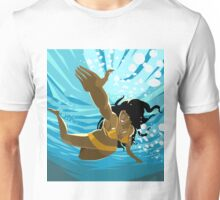 african girl swimming diving in the sea Unisex T-Shirt