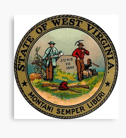 West Virginia WV State Vintage Travel Decal Canvas Print
