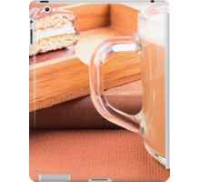 Glass mug with hot chocolate and biscuits in a wooden tray  iPad Case/Skin