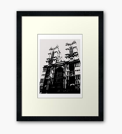 Westminster Abbey Pen and Ink,  London, England, UK Framed Print
