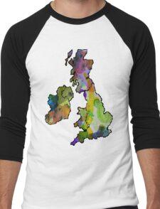 Great Britain Watercolour Men's Baseball ¾ T-Shirt