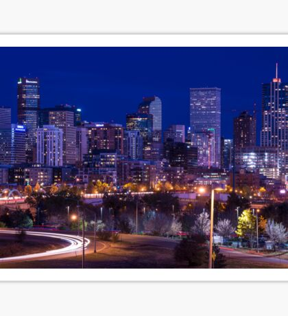 Denver Urban Skyline at Night - Colorado Sticker