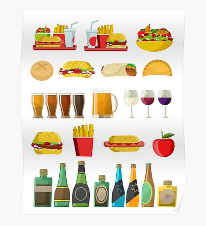 fast food beer pints wine cups and alcohol bottles print Poster