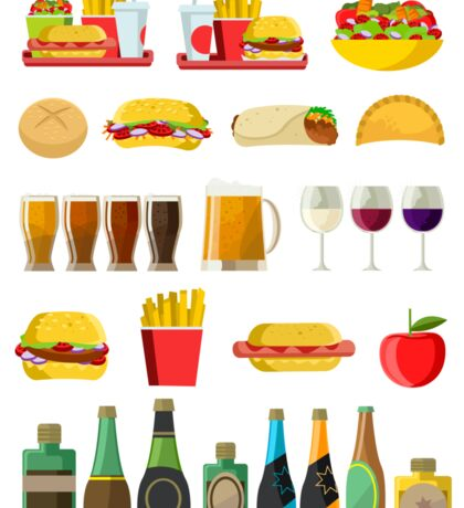 fast food beer pints wine cups and alcohol bottles print Sticker