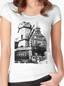 London Composite Pen and Ink Women's Fitted Scoop T-Shirt
