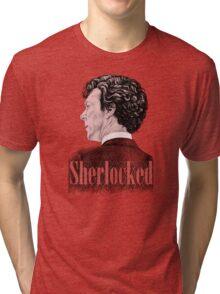 Sherlock Holmes - Sherlocked - Benedict Cumberbatch Crosshatch Portrait Tri-blend T-Shirt