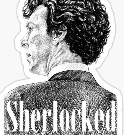 Sherlock Holmes - Sherlocked - Benedict Cumberbatch Crosshatch Portrait Sticker
