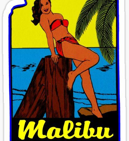 SURFING MALIBU CALIFORNIA SURF SHOP PINUP BEACH VINTAGE RETRO SURFBOARD Sticker