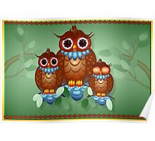 Three Alert Little Owls Poster