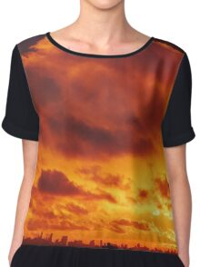 Cloudy Sunset over New York City  Chiffon Top