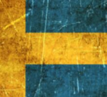 Vintage Aged and Scratched Swedish Flag Sticker