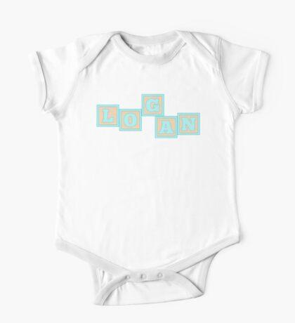 Baby Logan in alphabet building blocks One Piece - Short Sleeve