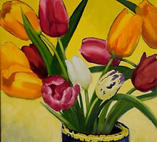 Artificial tulips in vase by Jane Saunders