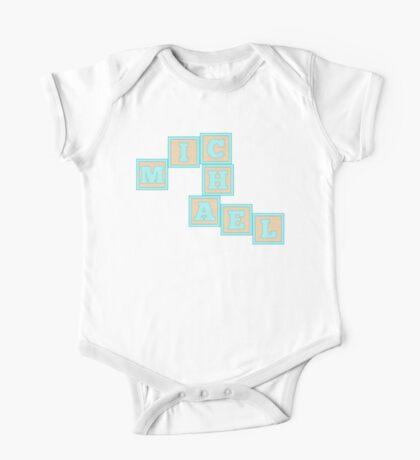 Baby Michael in alphabet building blocks One Piece - Short Sleeve
