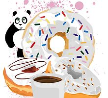 Panda & White Donuts by Adamzworld