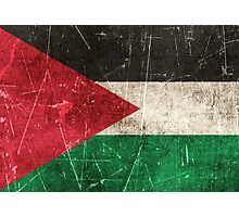 Vintage Aged and Scratched Palestinian Flag Photographic Print