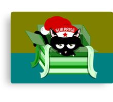 Naughty Cat Christmas Surprise Canvas Print