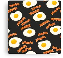 Breakfast With Bacon and Eggs Seamless Vector Pattern Dark Canvas Print