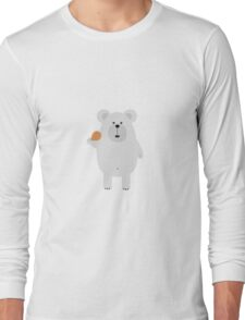 Polar Bear with Chicken leg Long Sleeve T-Shirt