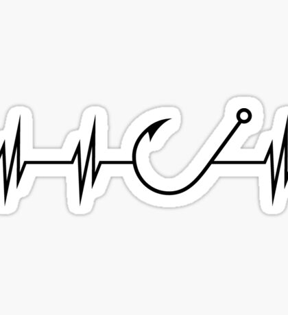 Fishing Heart Beat Sticker